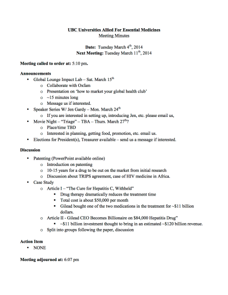 Tuesday March 4th 2014 - General Meeting Minutes